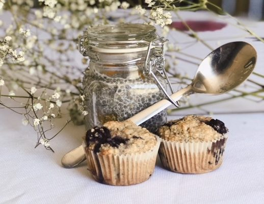 Chia Pudding & Blueberry Oatmeal Muffins